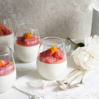 Orange Blossom Panna Cotta with a Rhubarb Compote.