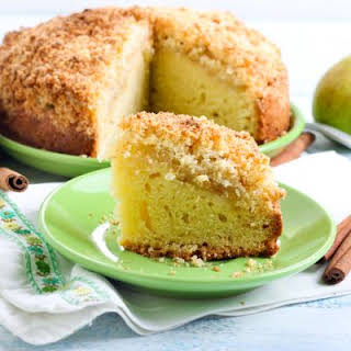 Slow-Cooked Pear Cake with Crumble Topping.