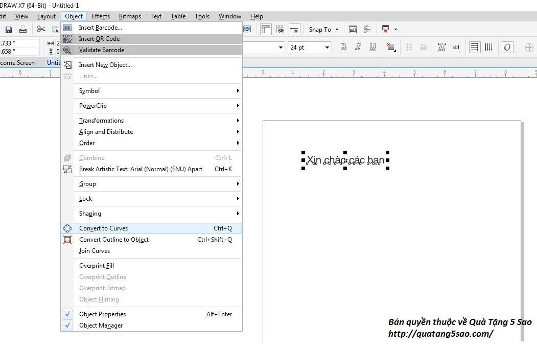 Chuyển text thành layout trong Corel Draw