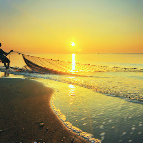 Fisherman's Friend by Andrew Supit - Landscapes Sunsets & Sunrises