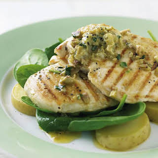 Grilled Chicken with Green Olive Butter.