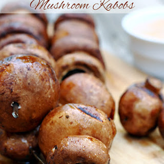 Balsamic Grilled Mushroom Kabobs with Savory Mayo Dipping Sauce.