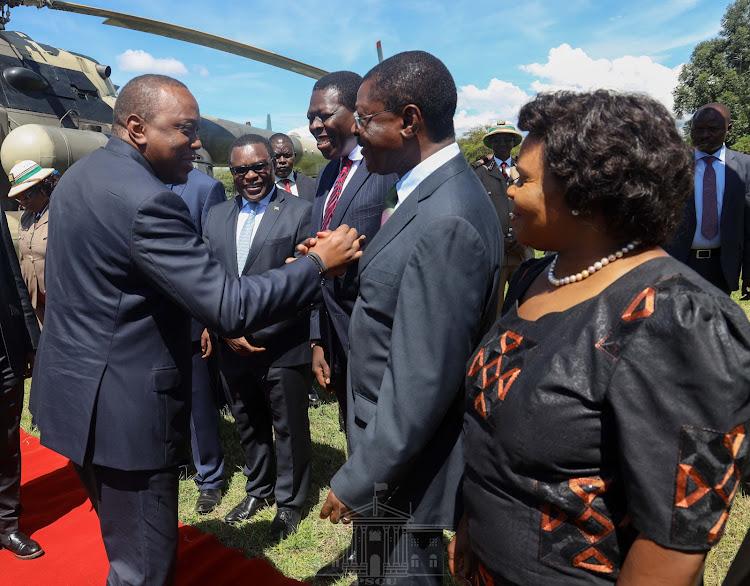 President Uhuru Kenyatta when he arrived in Bungoma on Friday./PSCU