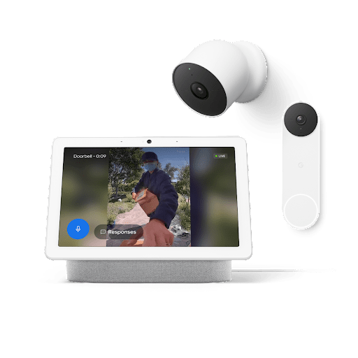 Nest Hub with footage from outside, along with a Nest Cam and Nest Doorbell.