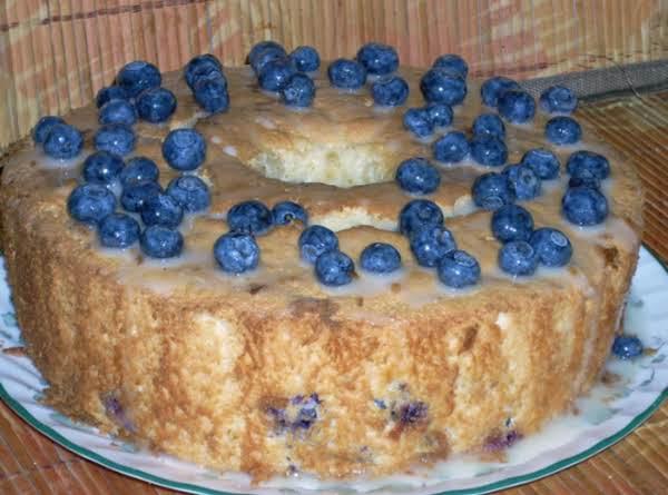 Blueberry Angel Food Cake With Citrus Glaze