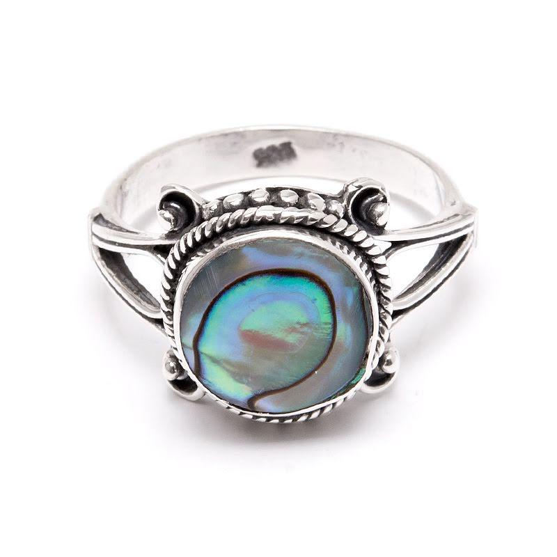 Paua snäcka, silverring med dekor