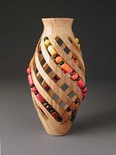 Photo: Intertwined Transformation  Harold Adams, woodturner Dawn Hesnault, beadmaker