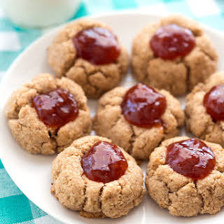 Gluten-free Almond Butter–Jam Thumbprint Cookies.