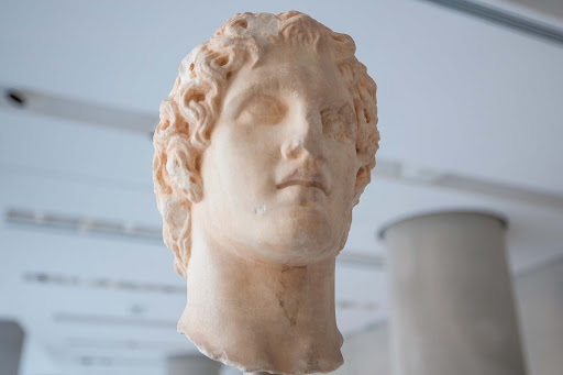 A bust said to depict Alexander the Great at the Acropolis Museum in Athens.
