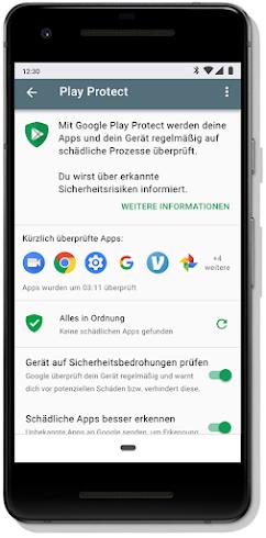 Google Play Protect-Dashboard auf einem Mobilgerät