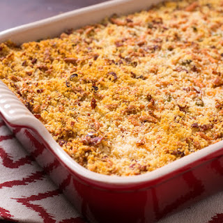 Crispy Mashed Potato Casserole With Bacon, Cheese, and Scallions.