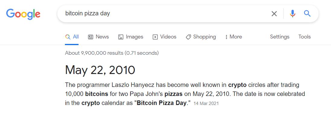 bitcoin pizza day may 22, 2010