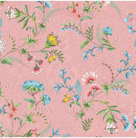 Pip 2020 La Majorelle Tapet med blommor och skimmer - Rosa