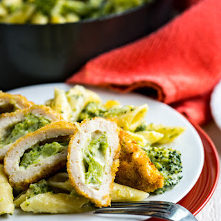 Cheesy Broccoli Pasta with Barber Foods Crispy Stuffed Chicken Breasts Recipe