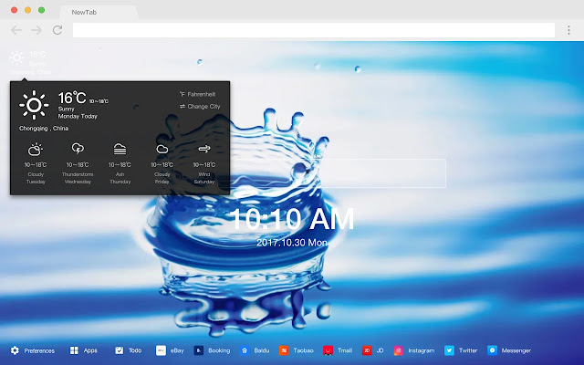 Water New Tab Page HD Popular Scenes Theme