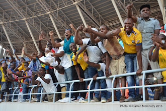 Photo: Full Time: Rwanda Amavubi Fans celebrate a 1-0 victory over Mozambique in opening AFCON2017 Qualifier.  [Rwanda Amavubi v Mozambique 14 June 2015 (Pic © Darren McKinstry / www.johnnymckinstry.com)]