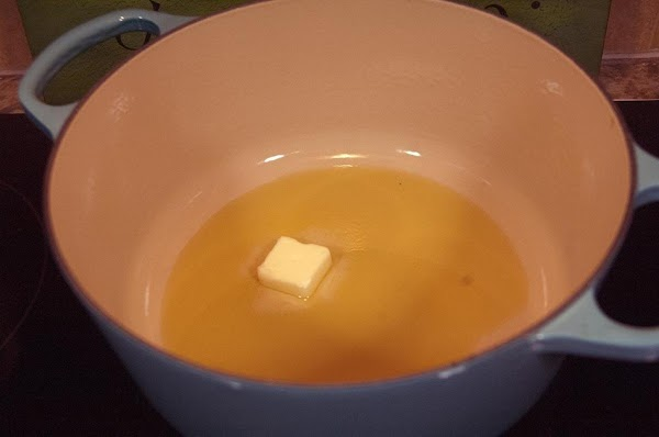Add the olive oil and butter to a large pot over medium heat.