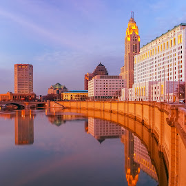 Columbus Ohio by Carl Albro - Buildings & Architecture Office Buildings & Hotels ( columbus, buildings, architecture, dusk, river )