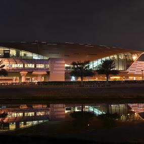 Dubai Metro Station by Roland Viado - Landscapes Starscapes ( water reflection, metro station, dubai, moe, pwcreflections )