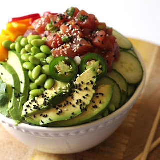 Ahi Tuna Poke Bowl with Citrus Ponzu and Creamy Sriracha Sauce