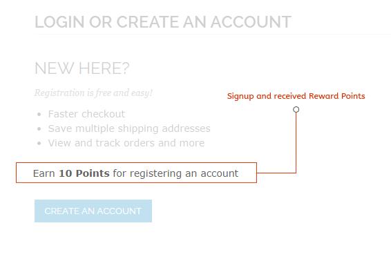 magento reward points Customer sign up