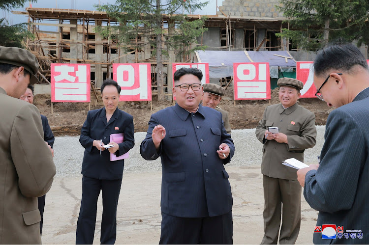 North Korea leader Kim Jong-un inspects construction sites in Samjiyon County, North Korea. KCNA/via REUTERS