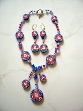 "Photo: PCC- 103Necklace and earrings set. Polymer Clay cane deads with crystal and glass beads. 17"", $119.00"