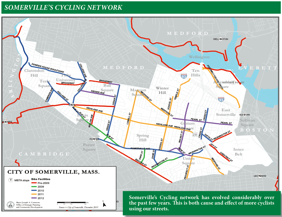 A map showing where around Somerville cycling infrastructure improvements have been made.