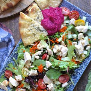 Mediterranean Chicken Salad with Parmesan Flatbread and Hummus.