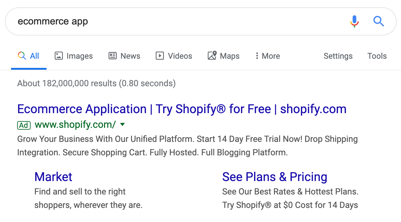 example of Shopify ad copy