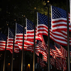NYC Flags by Karen Coston - Public Holidays July 4th ( flag, stars and stripes, night, new york city, usa,  )