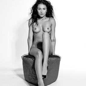 Shoe Chair beauty leaning back.  by Brian Sadowski - Nudes & Boudoir Artistic Nude ( models, shoes, sitting, topless, nude, black and white, implied, legs, white background, heels, beauty, hair, shoulders,  )