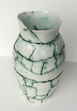 """Photo: """"A Pot a Day, 4/21/11"""" Porcelain patches pressed into a press mold with copper oxide wash and clear glaze."""