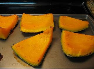To prepare the Hubbard Squash: Cut them in chunks, scrape out the seeds, and...