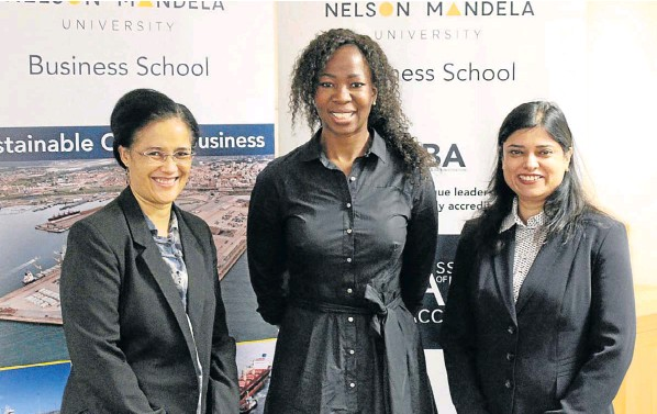 NMU Business School senior lecturer Dr Jessica Fraser, left, maritime business professor Dr Portia Ndlovu and associate professor of supply chain management at the School of Business and Law at the University of Agder in Norway, Naima Saeed, at an event at the NMU Business School on Thursday
