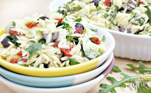 """Click Here for Recipe: Orzo Salad with Dijon Vinaigrette """"This Mediterranean-inspired Orzo..."""