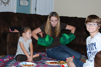 Photo: We decided to have a pizza picnic in the living room and start the movie! Fun times!