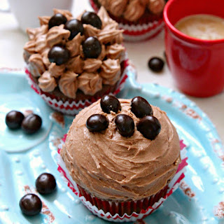 Chocolate Cappuccino Cupcakes with Espresso Buttercream Frosting.