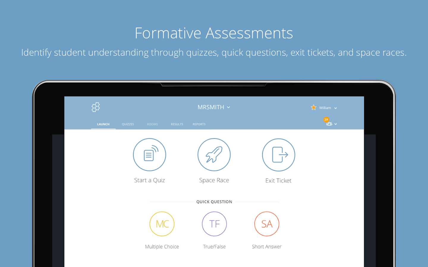 Socrative Teacher: captura de pantalla