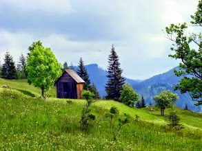 Photo: The little wooden houses are used to preserve the hay over winter.