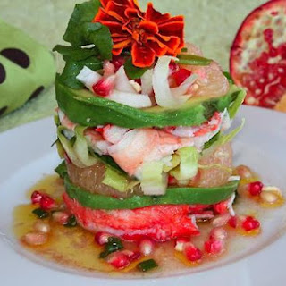 Like Pisa Tower – Crab Salad with Grapefruit, Pomegranate, Avocado and Watercress