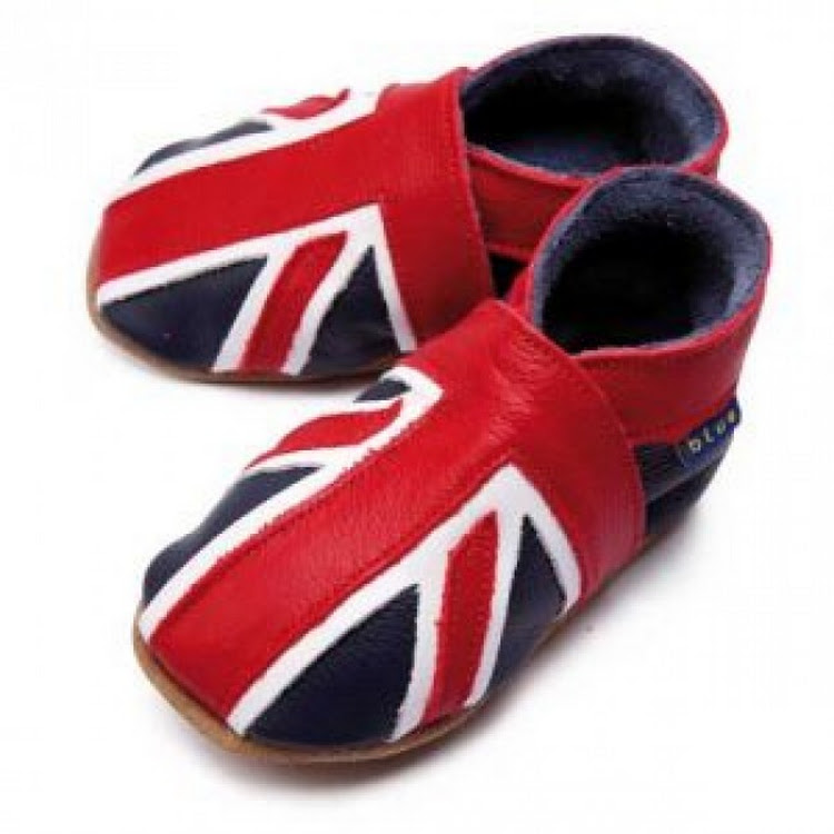 Inch Blue Soft Sole Leather Shoes - Union Jack (6-12 months)