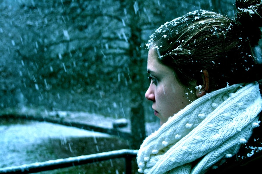 First Snow by Sam Stein - People Portraits of Women ( snow )