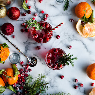 Rosemary Infused Citrus and Cranberry Holiday Cocktail.