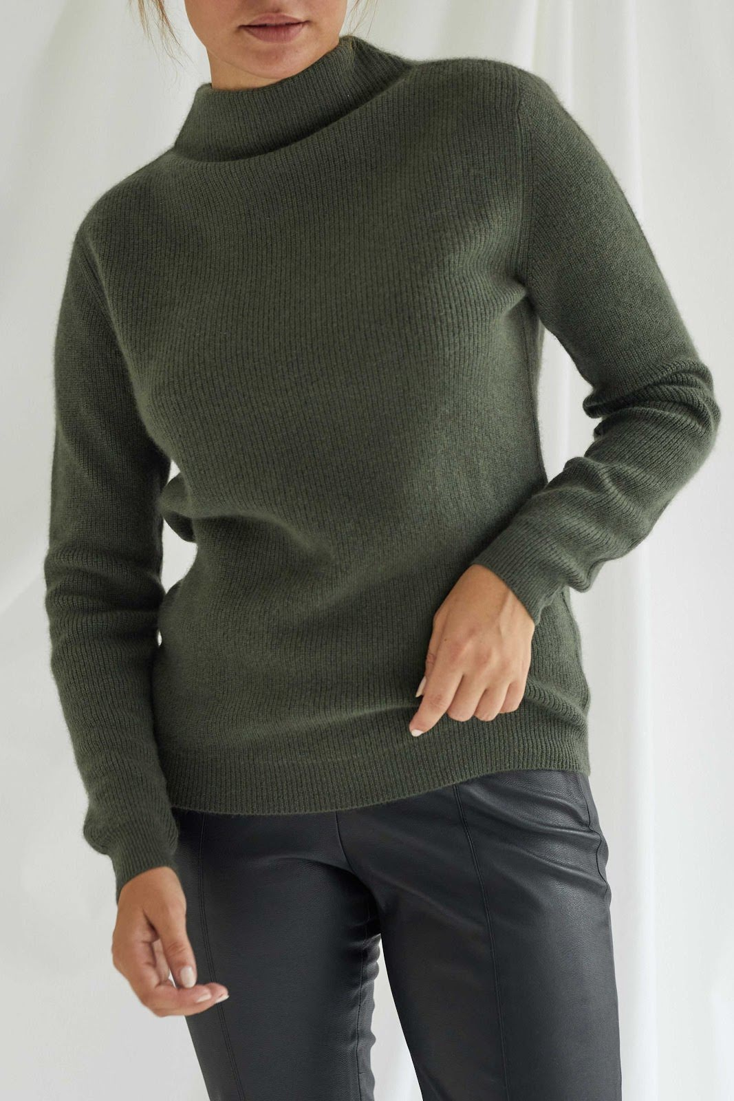 Rib Funnel Neck Sweater