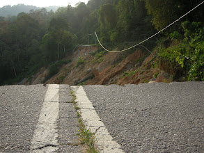 Photo: End of the road for us - recently collapsed road besides Semenyih dam