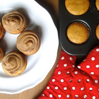 Banana Bread Cupcakes with Peanut Butter Frosting.