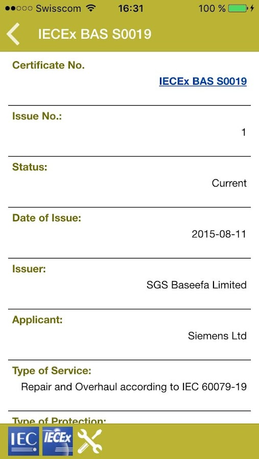 IECEx Service Certificates- screenshot