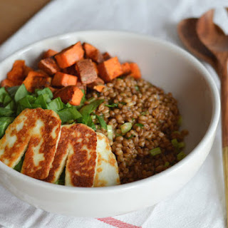 Wheatberry Salad With Sweet Potatoes, Fried Halloumi & Dill Vinaigrette