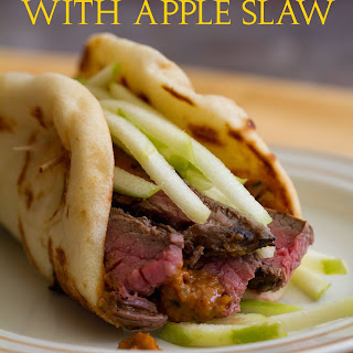 Spicy Flank Steak with Apple Slaw Naanwich